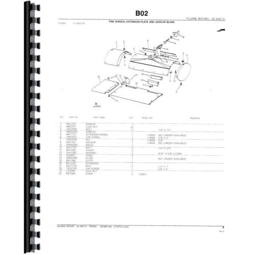 John Deere 30 Rotary Tiller Parts Manual (Rotary Tiller)
