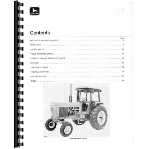 John Deere 4230 Tractor Operators Manual (0-12,999)