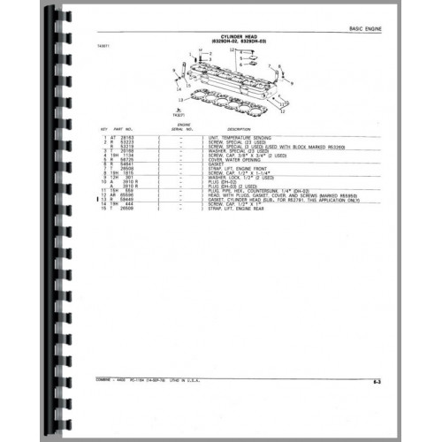 John Deere 4400 Combine Parts Manual (includes both volumes)