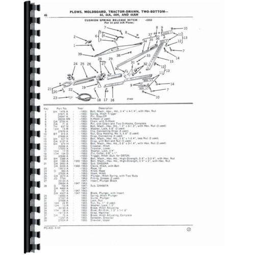 John Deere 44H Plow Parts Manual (2-Bottom Moldboard)