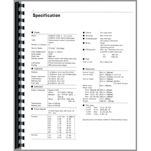 Kubota L175 Tractor Operators Manual