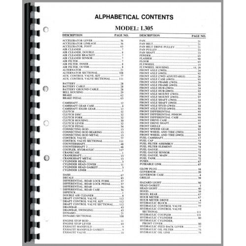 Kubota L305DT Tractor Parts Manual