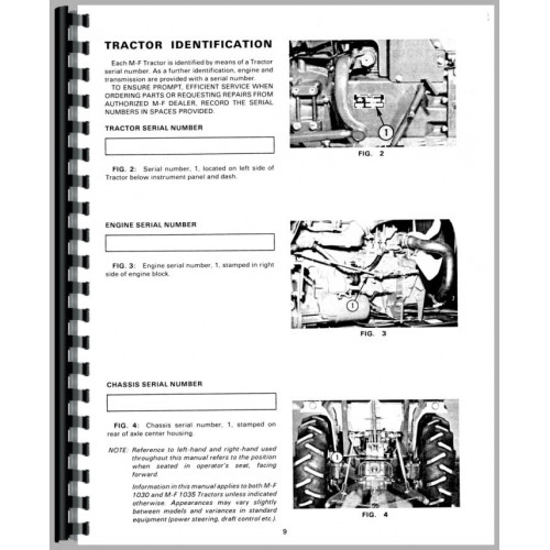 Massey Ferguson 1030 Tractor Operators Manual