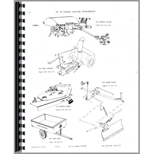 Massey Ferguson 12 Lawn & Garden Tractor Parts Manual