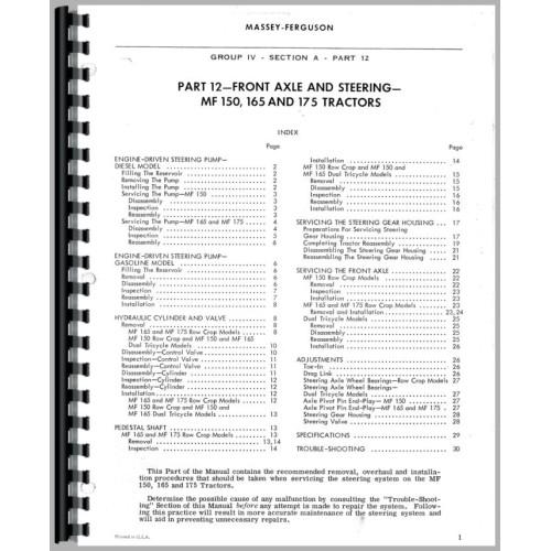 Massey Ferguson 165 Tractor Service Manual (1964-1975)