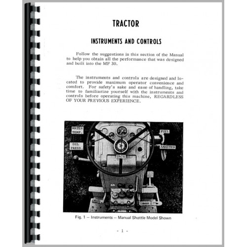 Massey Ferguson 30 Industrial Tractor Operators Manual