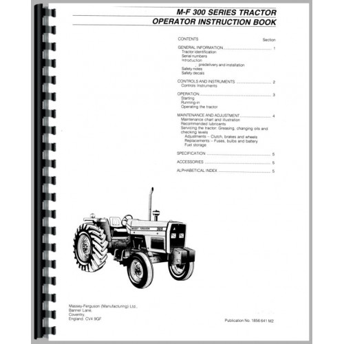 Massey Ferguson 398 Tractor Operators Manual