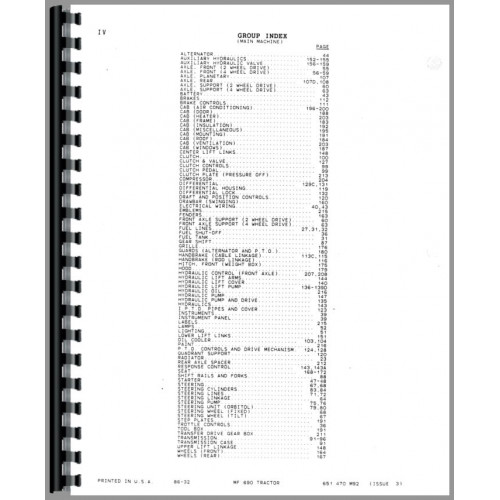 Massey Ferguson 690 Tractor Parts Manual