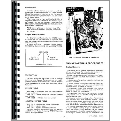 Massey Ferguson 70 Industrial Tractor Service Manual