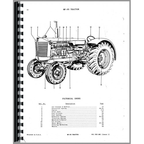 Massey Ferguson 95 Tractor Parts Manual
