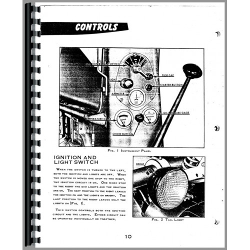 Minneapolis Moline RTE Tractor Operators Manual