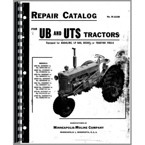 Minneapolis Moline UB Tractor Parts Manual