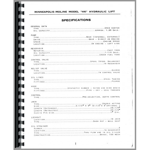 Minneapolis Moline ZA Tractor Operators Manual