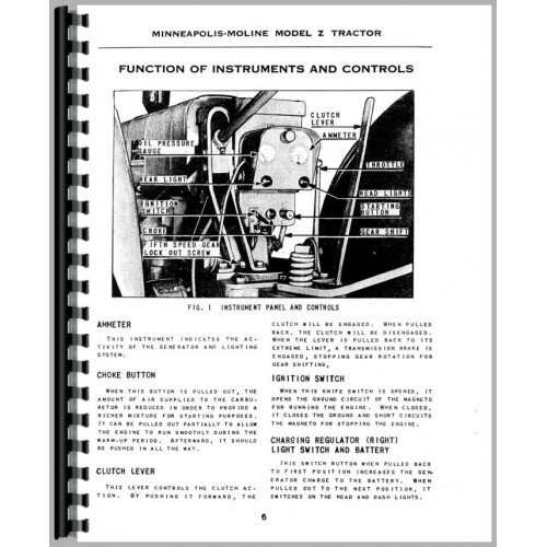 Minneapolis Moline ZTU Tractor Service & Operators Manual