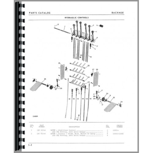 Oliver 1550 Backhoe Attachment Parts Manual