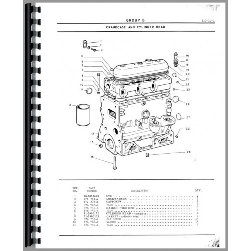 Minneapolis Moline G350 Tractor Parts Manual