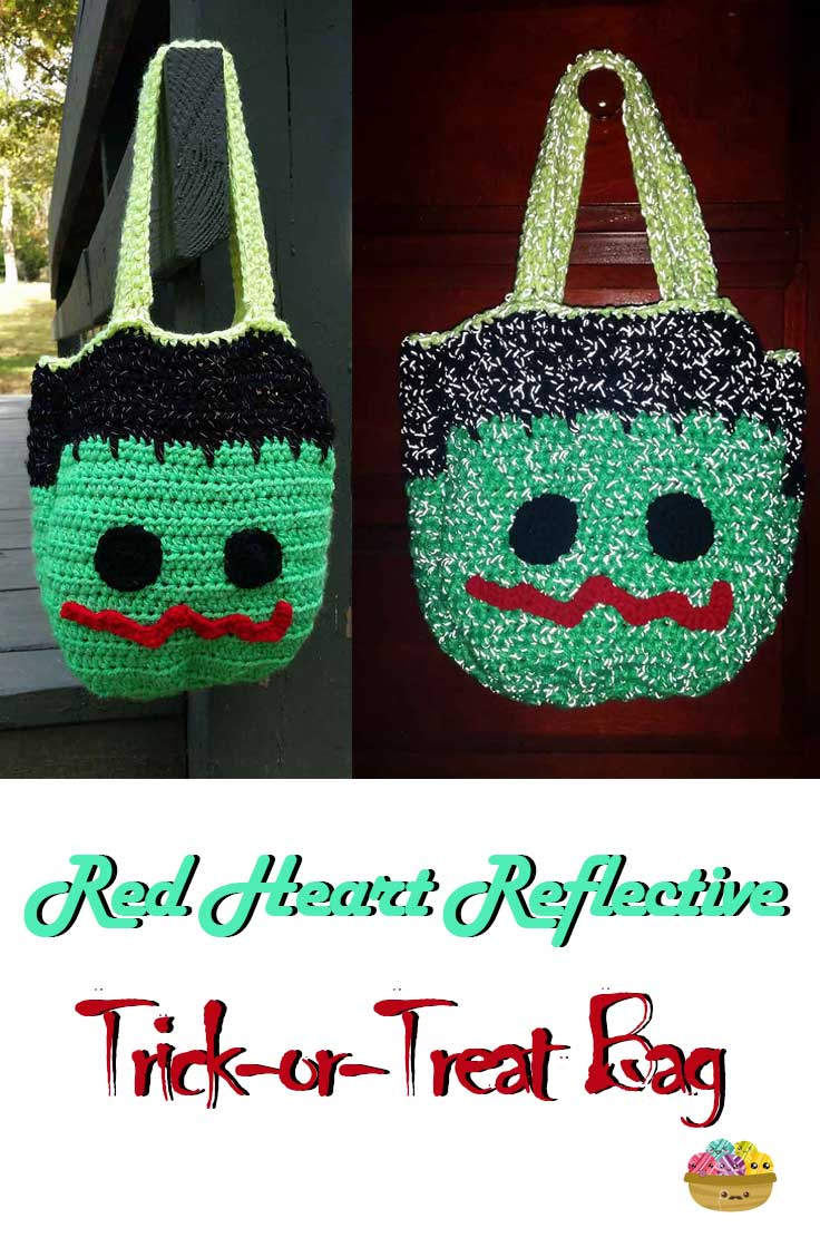 Make this awesome reflective trick-or-treat bag for Halloween using Red Heart Reflective!