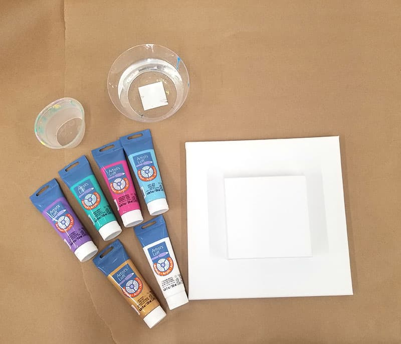 poured painting supplies