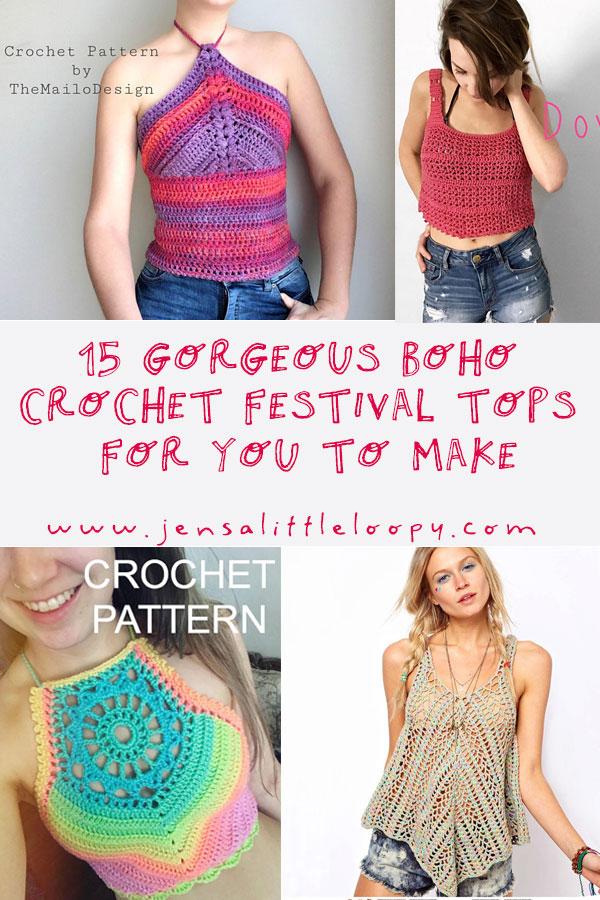 15 gorgeous boho crochet festival tops for you to make. #boho #festival #crochet #festivaltops #festivalattire #bohemian #crochettops