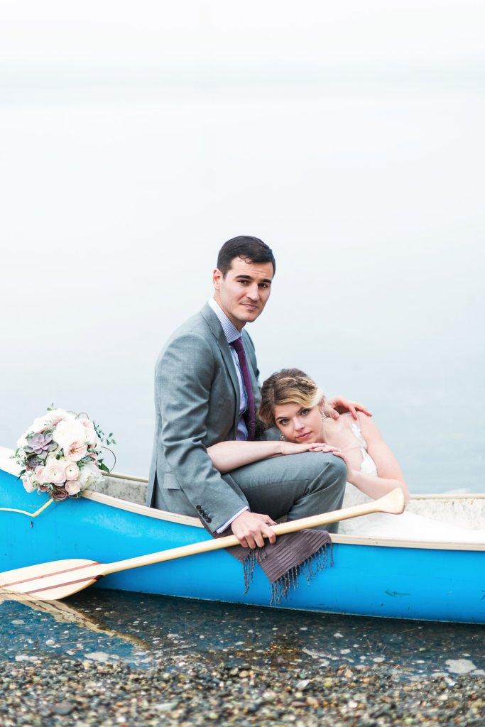 Bride & Groom in Canoe, Pacific Northwest Wedding, Canoe