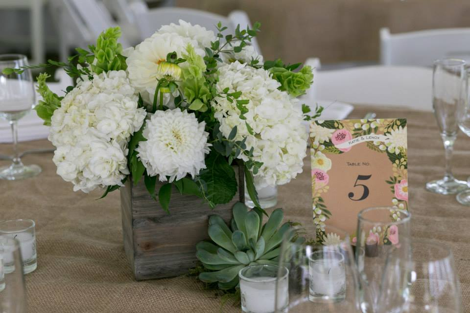 Hydrangea and Dahlia Centerpiece in Wood Box