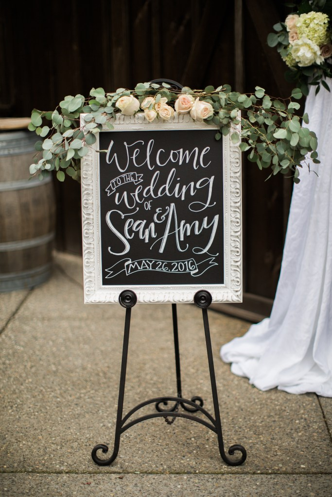Welcome Sign at Kelley Farm wedding.