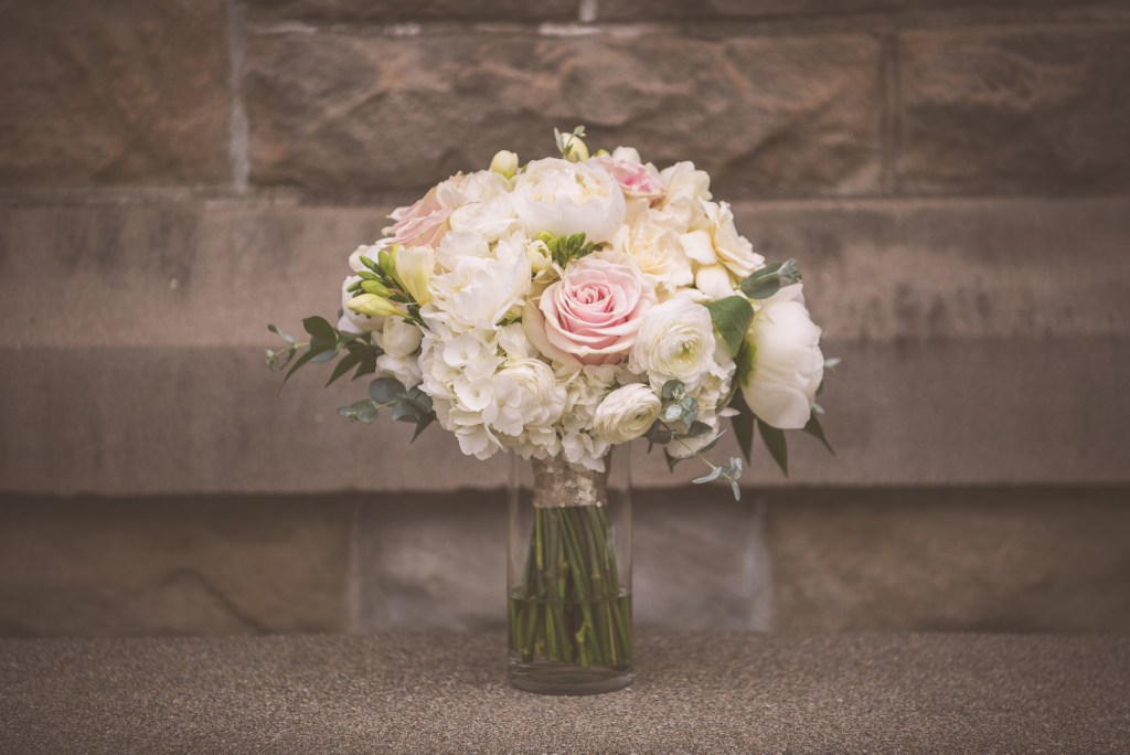 Rose, peony and hydrangea bridal bouquet by Jen's Blossoms.  Tacoma Wedding