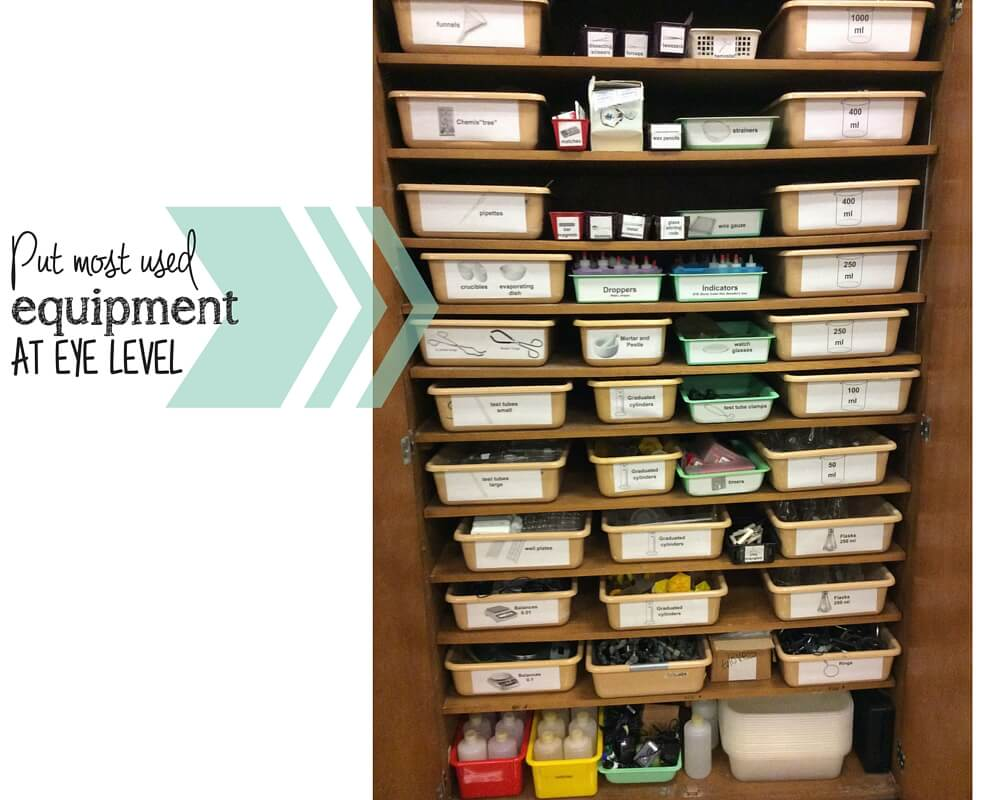 organize lab equipment eye level