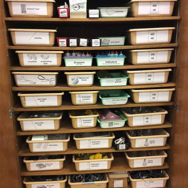 organize science equipment