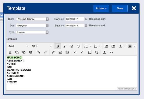 template customization screen