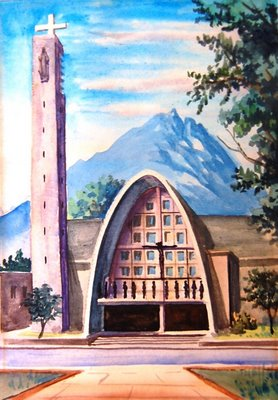 Painting of a Modern Church