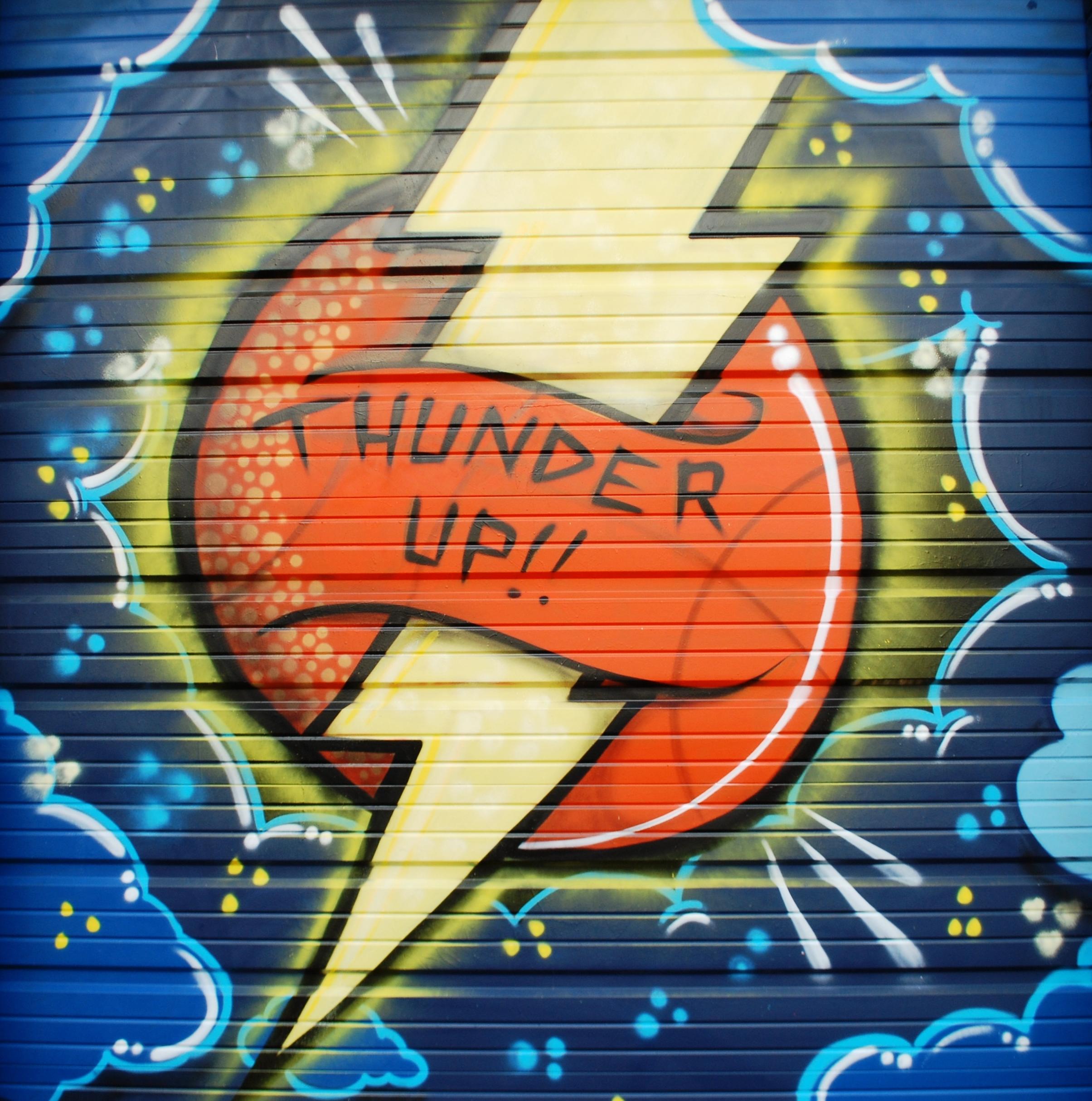 Thunder up soccer moms invade okc graffiti zone just jennifer oklahoma city thunder graffiti prinsesfo Images