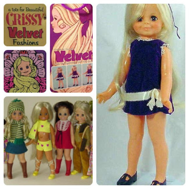 Velvet was Crissy's little sister. She had blond hair and wore a purple dress.
