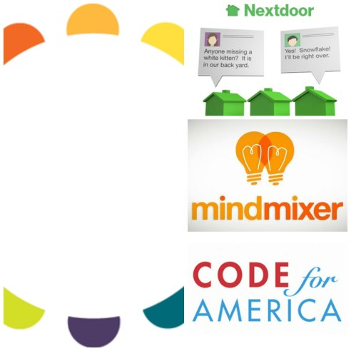 Logos for Tools for Code for America, NextDoor, MindMixer and PeakDemocracy.