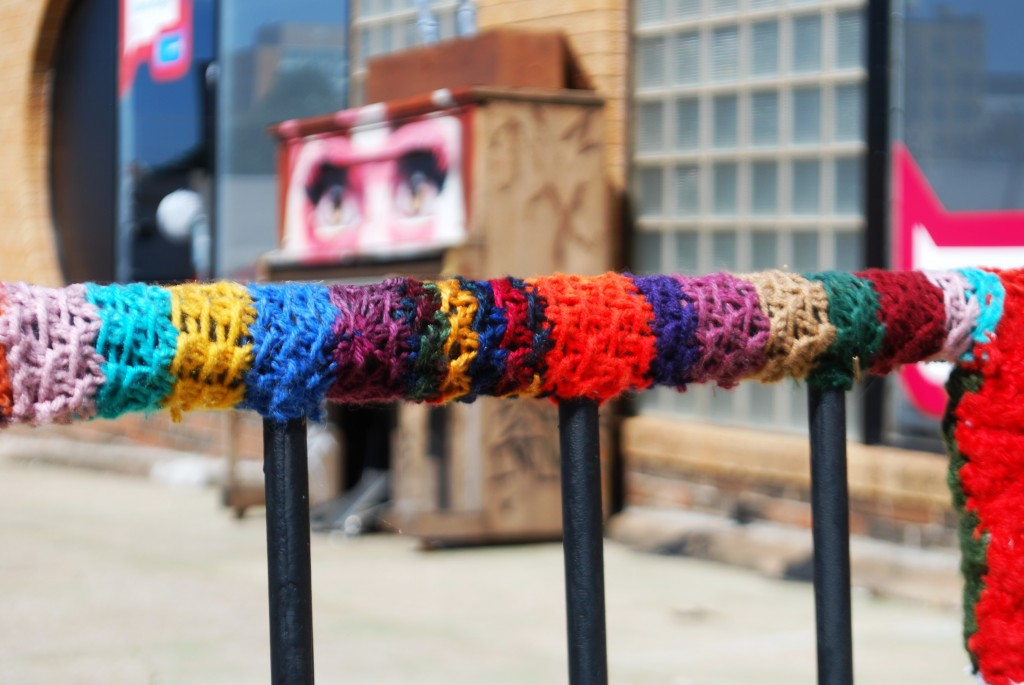 Street Art Yarn Bomb Piano with Eyes