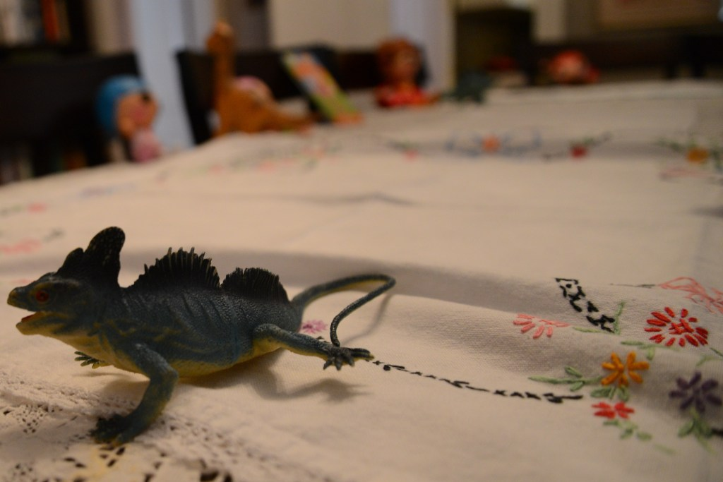 Dinosaurs rounding out the tea party.