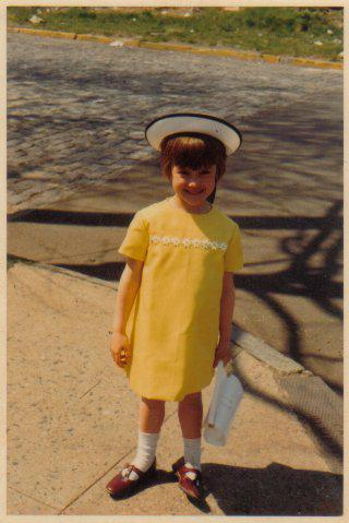 little girl with madeline hat 1960s Easter