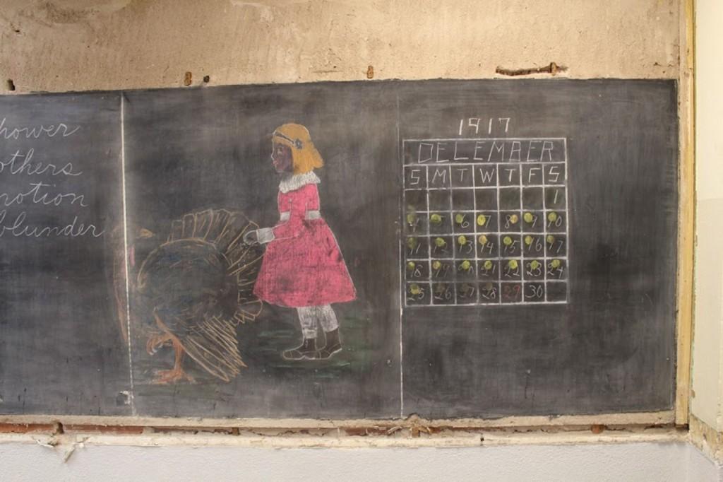 Girl in Pink Celebrating Thanksgiving Chalk Drawing