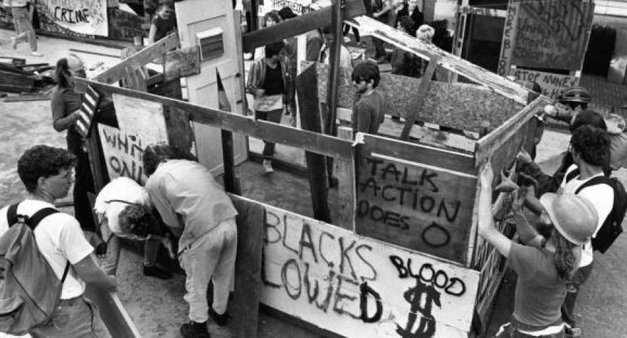 In 1986, students at UC Berkeley, erected mock shanty towns in protest of apartheid.