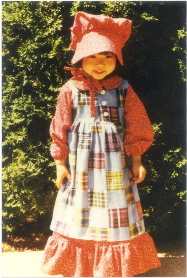 Plaid Dress With Bonnet 1970s