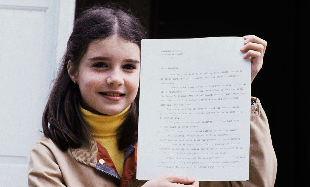 Samantha Smith, of Manchester, Maine, holds letter she received from Soviet leader Yuri Andropov on April 26, 1983 in Manchester, Maine. (AP Photo/Patricia Wellenbach)