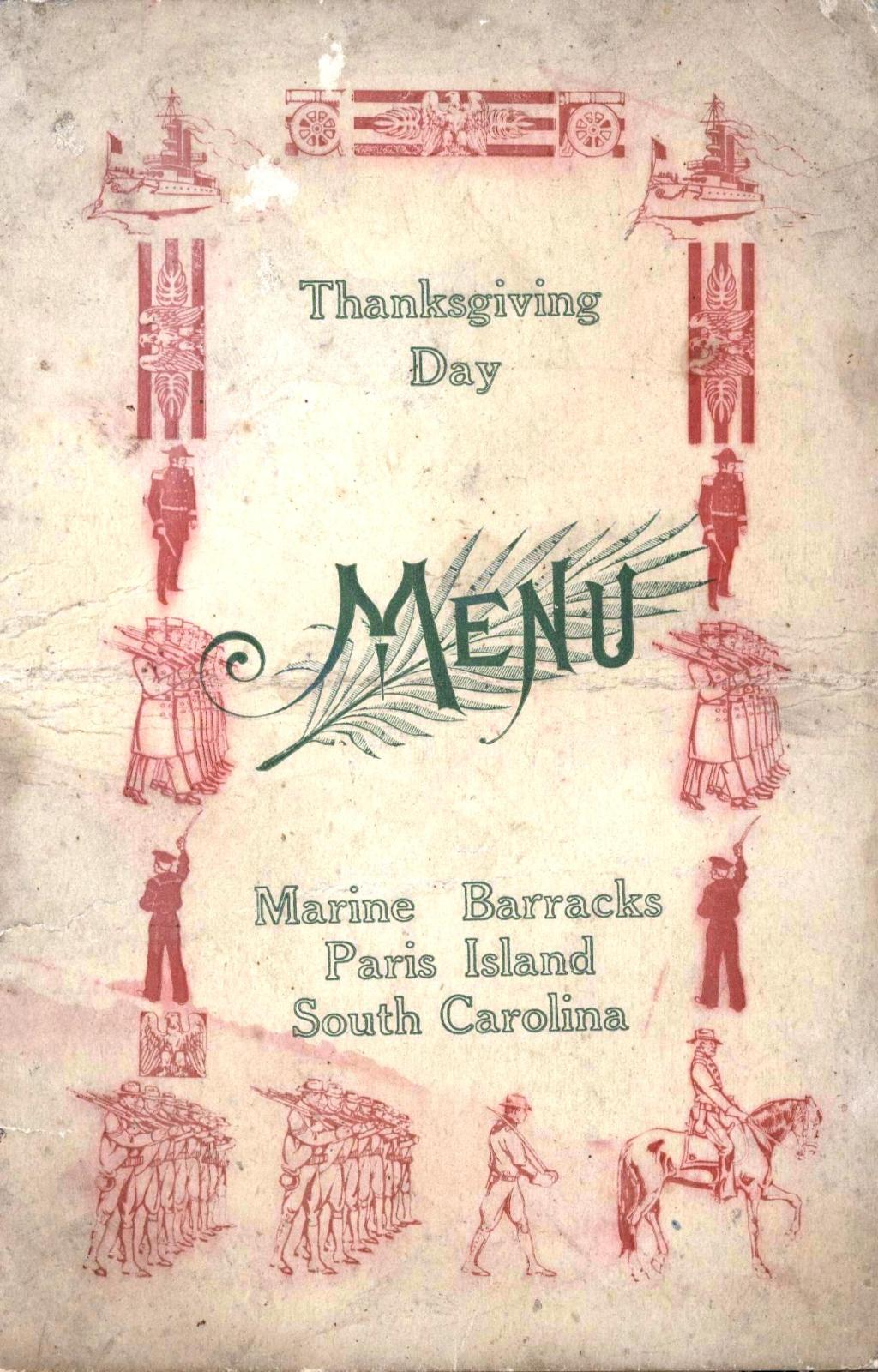 Thanksgiving Day 1916 USMC Menu