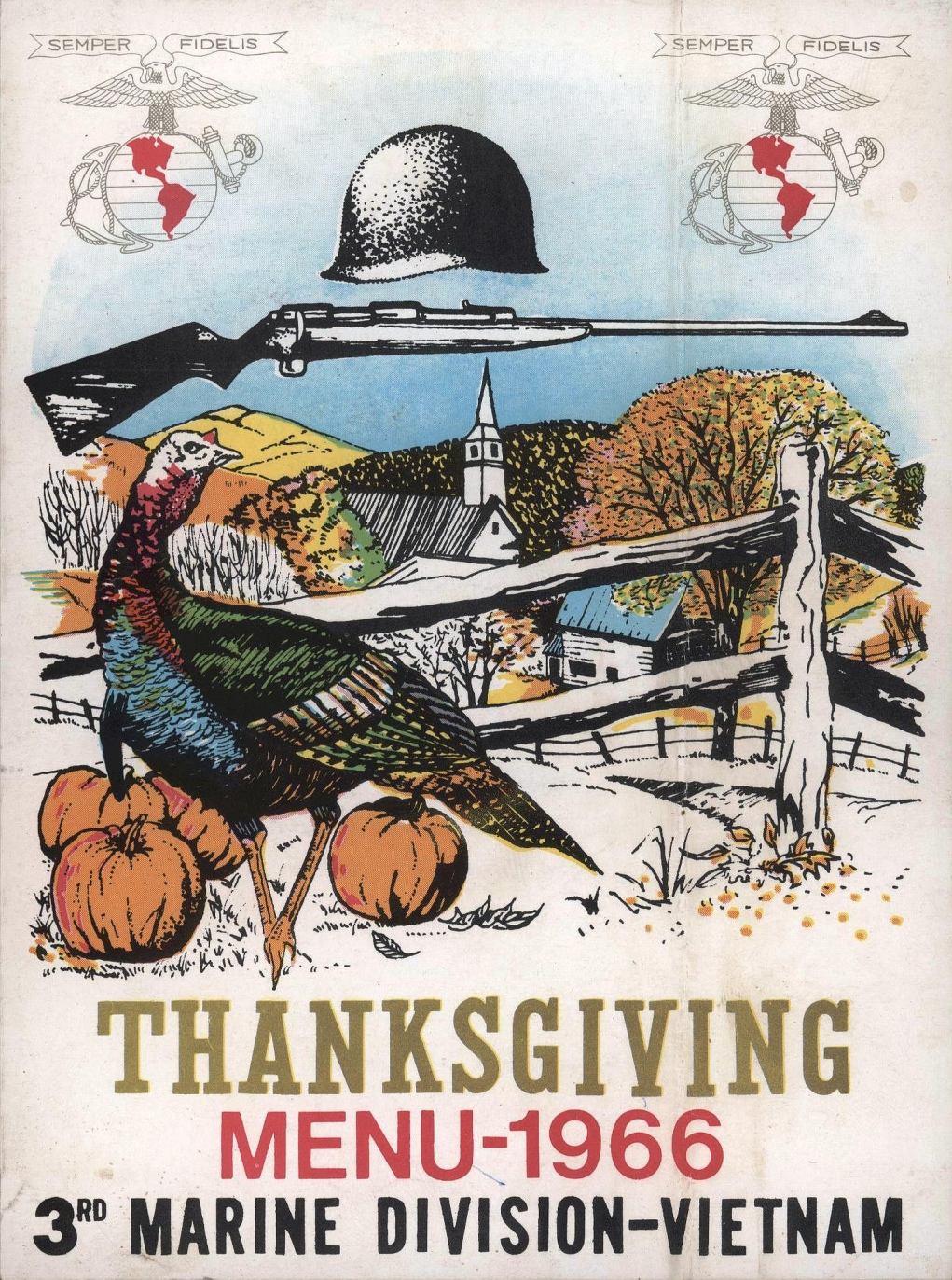 Thanksgiving Menu Marines 1966 Vietnam Era