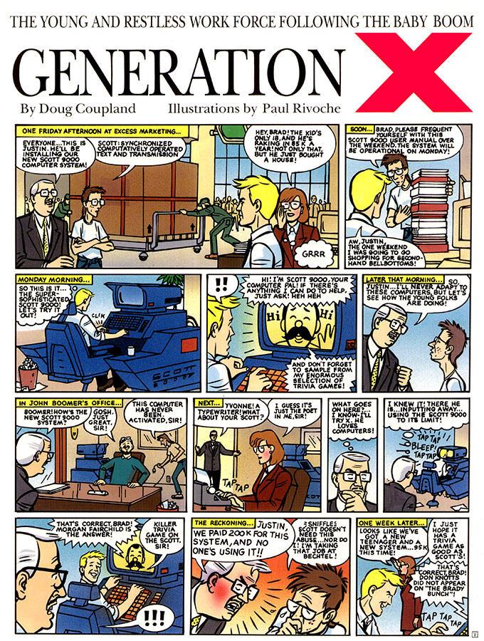 Rare Gen X Comic strip by Coupland