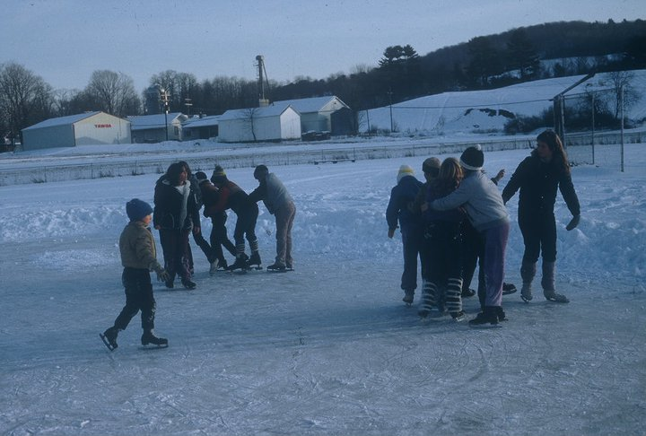 Kids skating on an ice pond - Mt. Upton, New York - 1970s