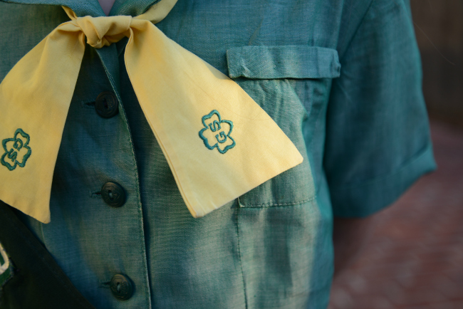 vintage girl scout yellow tie 1960s