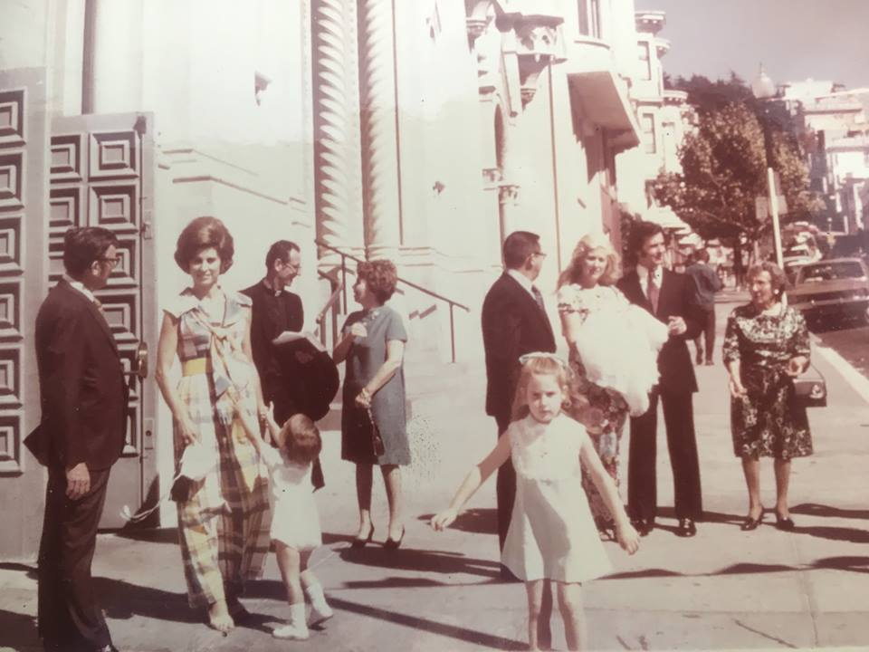 Italian families gather for a baby's baptism in San Francisco, 1970s