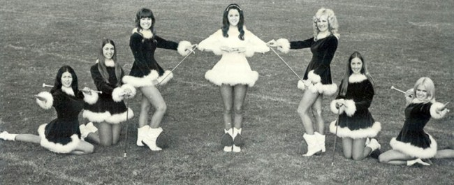 Baton twirlers in velvet and maribu, 1970s
