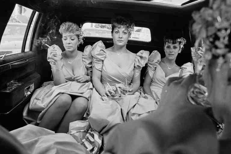 Kathy Shorr Bridesmaids smoking in a limousine 1989