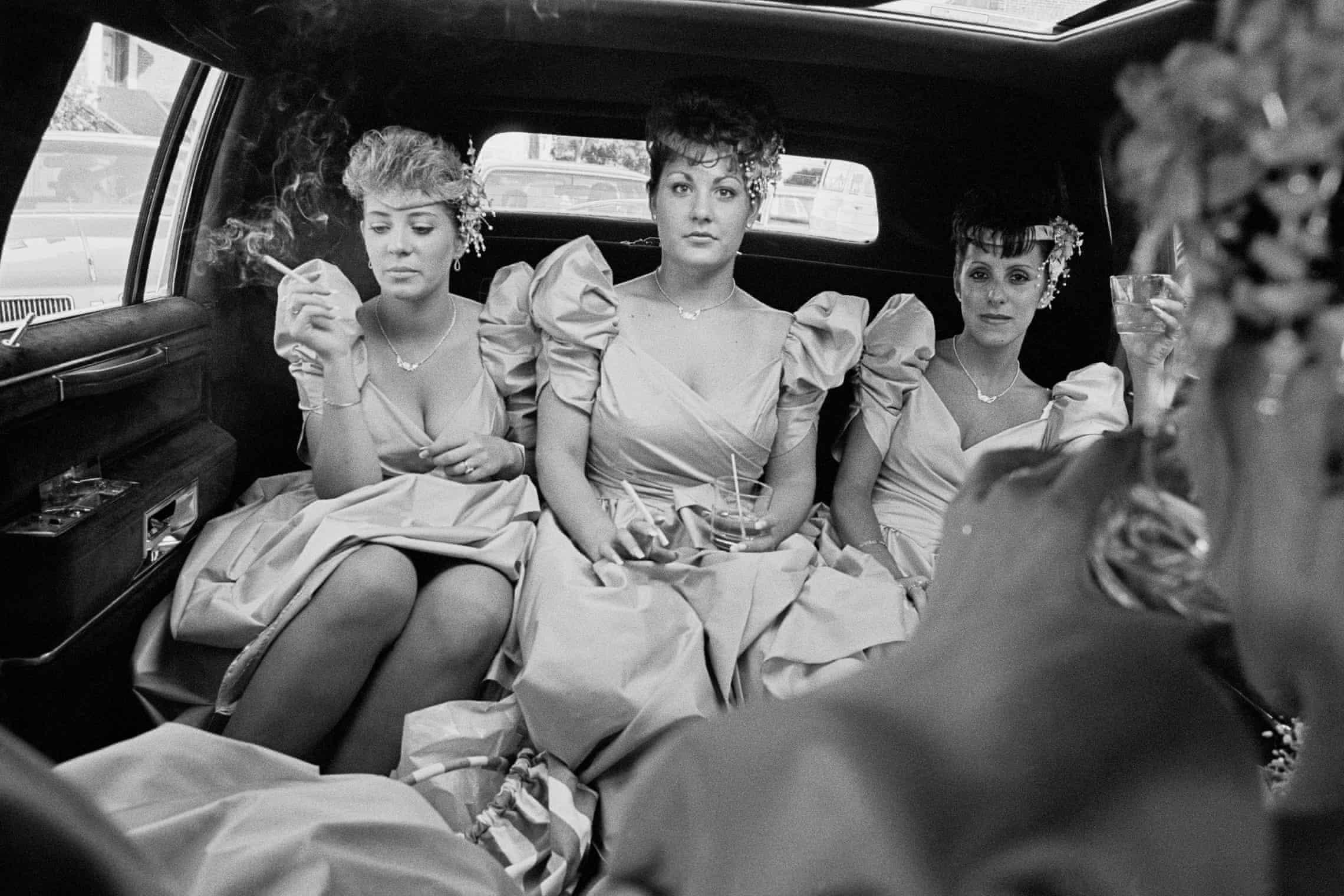 Kathy Shorr Bridesmaids smoking in a limousine 1989